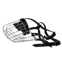 Wire Cage & Leather Muzzle (Miami). Size 9, Black. 13.75 circumference, 5 length. Best fits: German...