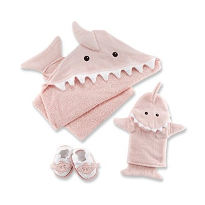 Baby Aspen Let The Fin Begin 4 Piece Bath Time Gift Set, Pink by Baby Aspen