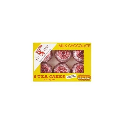 TUNNOCK'S Tea Cakes - Real Milk Chocolate 6 x 24g Box by Tunnock's