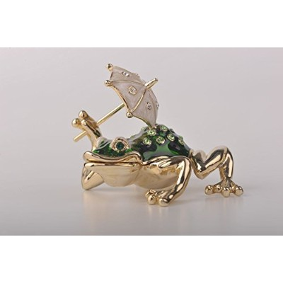 FabergeスタイルFrog with Umbrella Trinketボックス