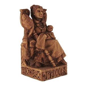Seated Norse Goddess Frigga Statue Wood Finish