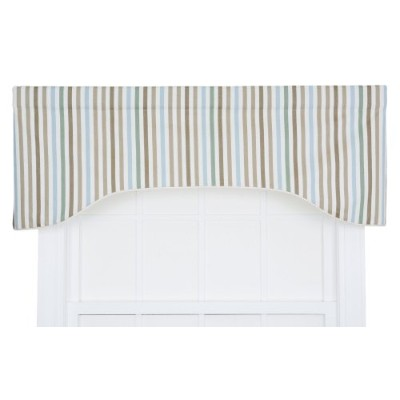 Ellis Curtain Line-Up Stripe Print Lined Arched Valance, 130cm by 43cm, Latte