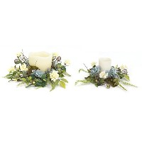 Melrose International Blue Hydrangea And Berry Candleリング、10-inch / 14インチ、2のセット