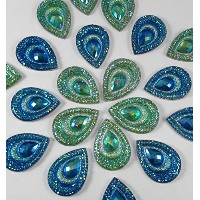 20 Pcs Peacock Blue & Green, Iridescent Flat Back Teardrop Beads Cabochons by Olivia Pearl Designs