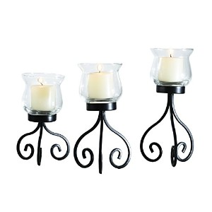 Eleganのセット3メタルスタンドwith Glass Candle Holder