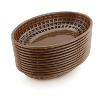 (One Dozen, Brown) - New Star Foodservice 44102 Fast Food Baskets, 23cm x 15cm Oval, Set of 12,...
