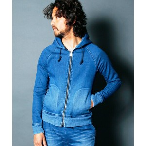 【Magine(マージン)】1724-23-SHAVING KNIT DENIM FULL ZIP SWEAT PARKA パーカー