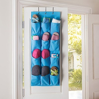 12 Pocket Hanging Door Holder Storage Organizer, Tune Up Closet Shoe Hanger Organiser Box (Blue) by Tune Up