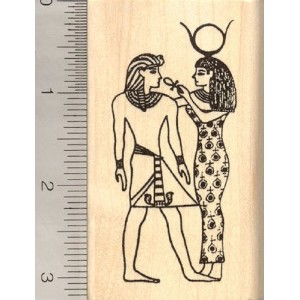 エジプト女神Hathor gives Pharaoh Eternal Lifeラバースタンプ、Ankh