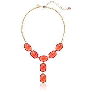 """1928Jewelry """" Jeweltones """" Oval FacetedドロップY字型ネックレス、15インチ"""