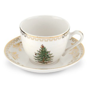 SpodeクリスマスツリーゴールドTeacup and Saucer、4のセットbyスポード