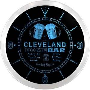 LEDネオンクロック 壁掛け時計 ncp2095-b CLEVELAND Home Bar Beer Pub LED Neon Sign Wall Clock