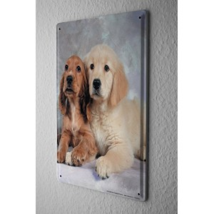 Tin Sign ブリキ看板 Breed Puppies Golden Retriever Cocker Spaniel