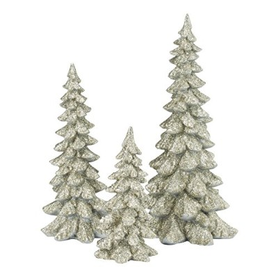 Department 56 Authentic Village Accessories Holiday Trees Figurine, Silver, Set of 3 [並行輸入品]