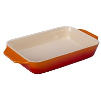 Le Creuset Stoneware Rectangular Dish, 12.5 by 8.25-Inch, Flame [並行輸入品]