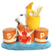 Westland Giftware Mwah! Pelican on Pier 4-3/4-Inch Magnetic Toothpick and Salt and Pepper Set ...