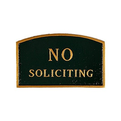 Montague Metal Products SP-10sm-HGG No Soliciting Arch Statement Plaque, Small, Hunter Green and...
