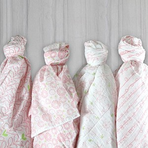 Magnolia Organics 4Pack Swaddle Blankets ピンク BSB4P