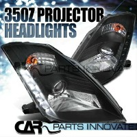 "日産 フェアレディー Z ヘッドライト Fit 03-05 Nissan 350Z Z33 Fairlady Black ""HID"" Projector Headlights+SMD LED..."