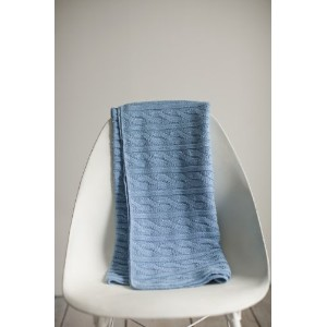 Classic Cable Knit Baby Blanket - French Blue - Made in USA by Bluebird Blanket