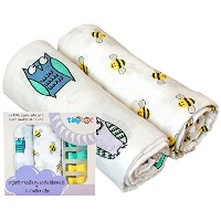100% Organic Cotton Swaddle Blanket & Stroller Clip Set - Extremely Soft - Use As a Swaddle...