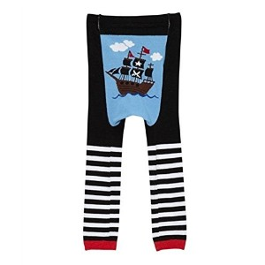 Doodle Pants - Black Pirate Ship Leggings - Small by Doodle Pants