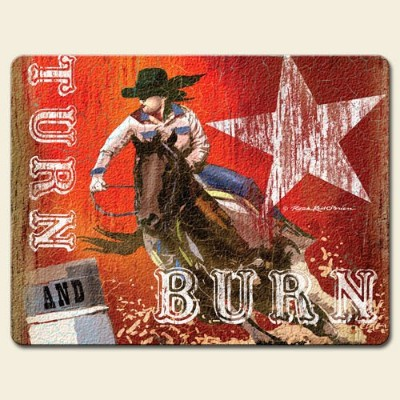 Hang On For The Ride Western Cowboy 38.1cm x 29.2cm Tempered Glass Cutting Board