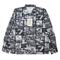 WEIRDO SPACE PAPER - L/S SHIRTS (BLACK)ウィアード 総柄 長袖シャツ/GLADHAND【GANGSTERVILLE/ギャングスタービル/OLD CROW...