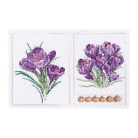 Thea Gouverneur クロスステッチ刺繍キットNo.444 「Crocus Panel」(クロッカスのパネル 花) オランダ テア・グーヴェルヌール 【取り寄せ/納期40~80日程度】
