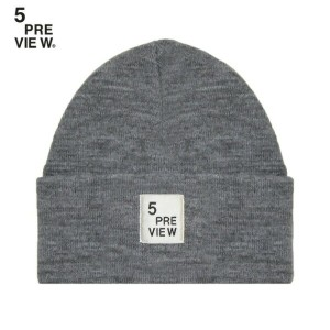 5PREVIEW (ファイブプレビュー) DOVER HAT (GREY) [ビーニー/ニットキャップ/ロゴ/UNISEX] [グレー]