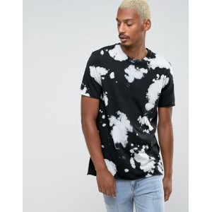 ASOS エイソス Longline T-Shirt Tシャツ With Batik Wash In Black