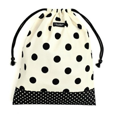 decorPolkaDot 巾着(大サイズ) polka dot large(twill・white)×polka dot small(twill・black)(体操服入れ 保育園 着替え 袋...