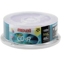 MAXELL CDR700-25CL Spindle パック of 25 700MB/80 ミニッツ Blank Recordable CD-R ディスク (海外取寄せ品)