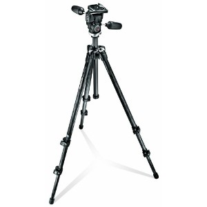 Manfrotto MK294C3-D3RC2 3 Section カーボン ファイバー Tripod キット with クイック リリース 3-ウェイ Head (Black) (海外取寄せ品)