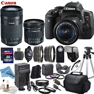 Canon EOS T6i デジタル SLR Camera with EF-S 18-55mm STM レンズ & EF-S 55-250mm f/4-5.6 IS STM レンズ & EF-S...