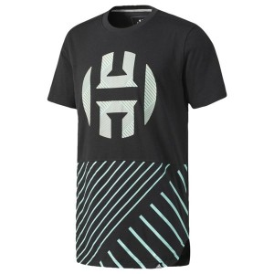 アディダス メンズ Tシャツ トップス Men's adidas Harden Scoop T-Shirt Black/Easy Green