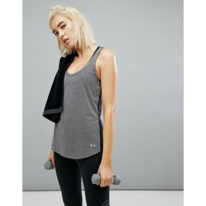 アンダーアーマー レディース カットソー トップス Under Armour Run Threadborne Mesh Tank In Grey Carbon heather