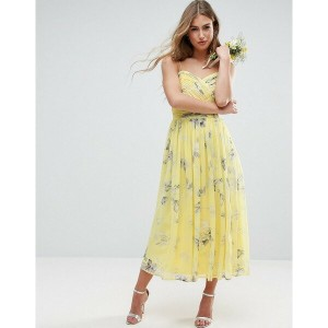 エイソス レディース ワンピース トップス ASOS WEDDING Rouched Midi Dress in Sunshine Floral Print Multi