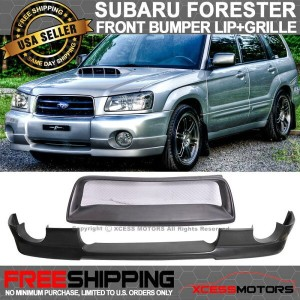 USパーツ 03-05スバルフォレスターSg5 DS PUフロントバンパーリップ+ PUフードグリル For 03-05 Subaru Forester Sg5 DS PU Front Bumper...