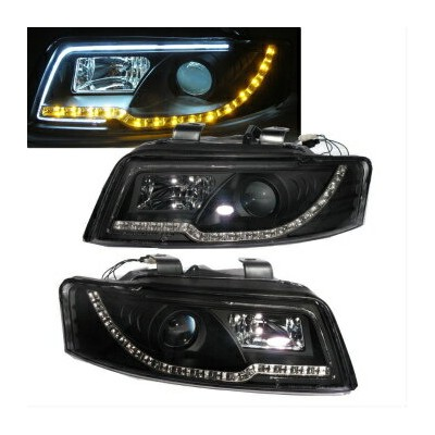 アウディ ヘッドライト A4/S4 2001-2004 4D B6 8E Projector LED R8 HEADLIGHT w/Amber Black for AUDI AUDIのためのアンバーブ...