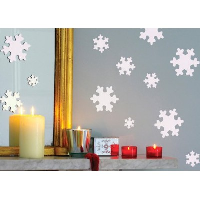 Funtosee, Snowflake Stickers, Peelable And Re-stickable, Set of 30, White