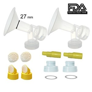 2xOne-Piece Large Flagne (27mm) w/ Valve, Membrane and Bottle Converter for SpeCtra Breast Pumps S1...