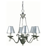 Lite Source LS-14656 Laurel 6-Lite Chandelier Lamp with Silver Paper Shade by Lite Source