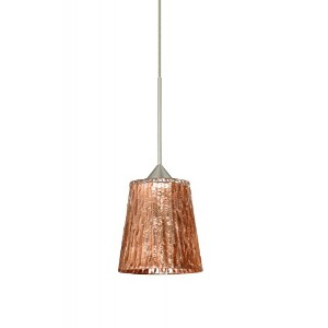 Besa照明1 x t-5125cf-led Nico 1ライトLED cord-hung Mini Pendant with Stone、 1XT-5125CF-LED-SN 1