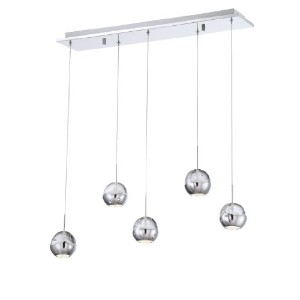 Eurofase照明25665 Ice 5ライトモダンLED Linear Pendant with Round Seedy G、 25665-017 1