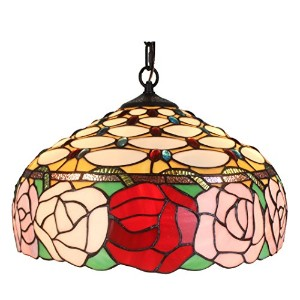 Amora照明ティファニースタイルam034hl16 Roses Hanging Lamp Wide 16 in