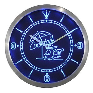 LEDネオンクロック 壁掛け時計 nc0309-b Cocktails Parrot Bar Pub Club Neon Sign LED Wall Clock
