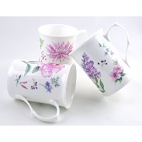 Fine English Bone China Mugs - Set of Three - Meadow Flowers By Roy Kirkham by Roy Kirkham,...