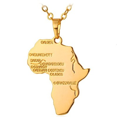 (18K Gold Plated) - U7 Hiphop Africa Map Pendant Necklace, Gold/Platinum/Rose Gold/Black Plated/925...