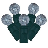 Vickerman Cool White LED Faceted g12ベリークリスマスライトwith 4インチ間隔とグリーンワイヤー、100のセット